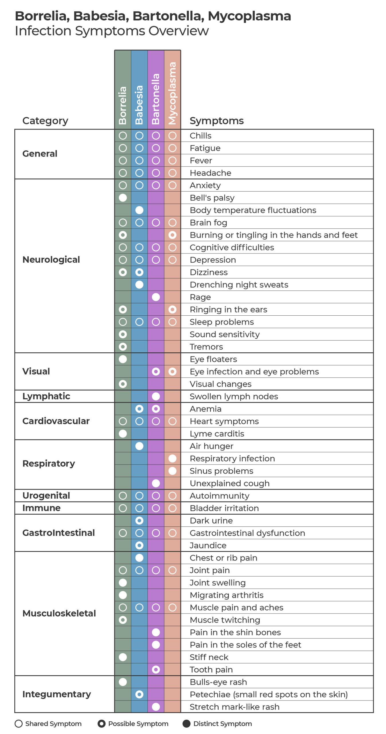 Borrelia, Babesia, Bartonella, and Mycoplasma Symptoms Overview